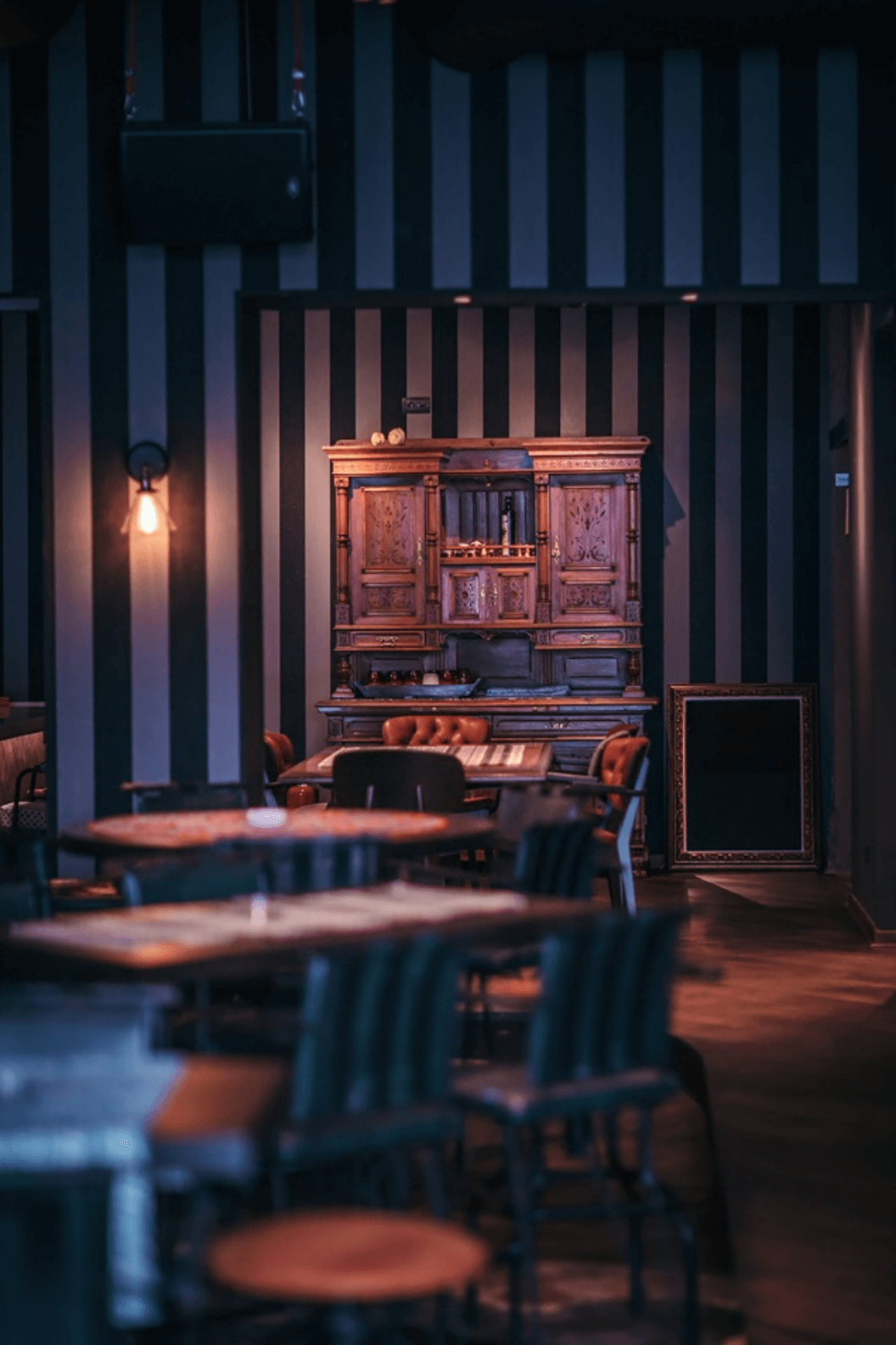 darker ambiance and mood in restaurant